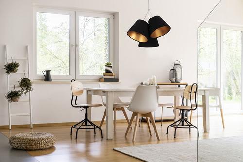 Dreifache Pendelleuchte für die Küche EIMER E27 60W schwarz / gold
