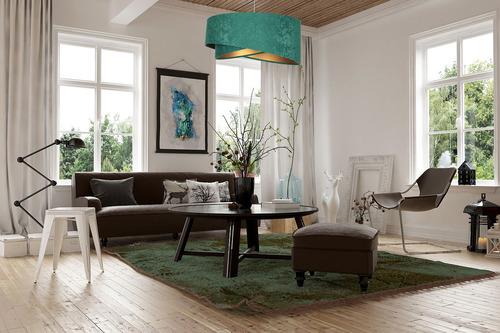 Moderne Eleganz 60W E27 Hängelampe asymmetrisch, Velours, Smaragd / Gold