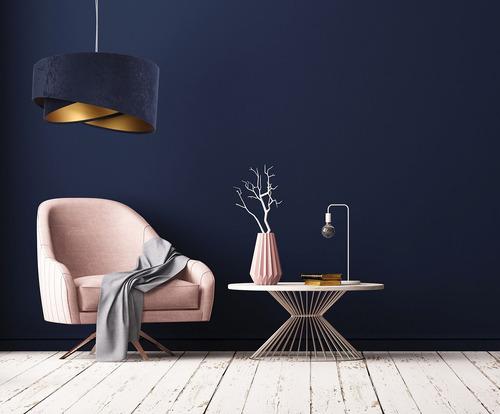 Runde Pendelleuchte Elegance 60W E27 Marineblau / Gold, Velours