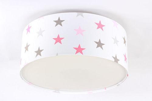 Lampe für ein Kind - Plafond Luminance E27 60W LED Sterne, pink, grau