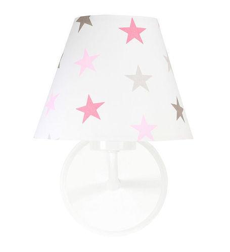 Wandleuchte für ein Mädchenzimmer Raggio E27 60W graue und rosa Sterne