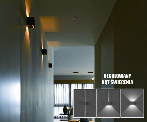 Kreo LED Außenwandleuchte 2x3w Quadrat 4000K einstellbarer Beleuchtungswinkel