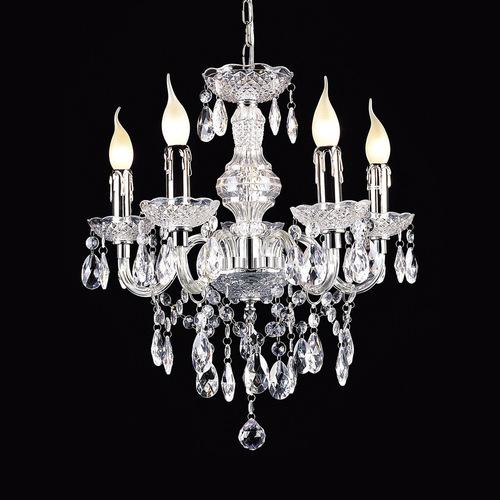 Klassischer Kronleuchter mit Whiz E14 Kristallen, 5 Glühbirnen