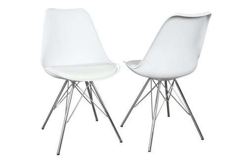 INVICTA HUGO weißer Stuhl - Chromfuß