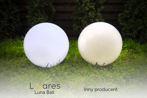 Set mit drei Außenlampen, Gartenkugeln Luna Ball: 30 cm, 40 cm, 50 cm, leuchtende Gartenkugeln, klassisch, weiß small 3