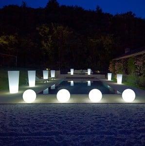 Set dekorative Gartenkugeln: 25 cm 30 cm 40 cm + 3x RGB LED + Fernbedienung small 3
